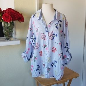 Tommy Hilfiger floral long sleeve button up shirt